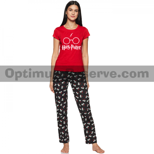 Printed T-shirt & Pajama D32 For Women's