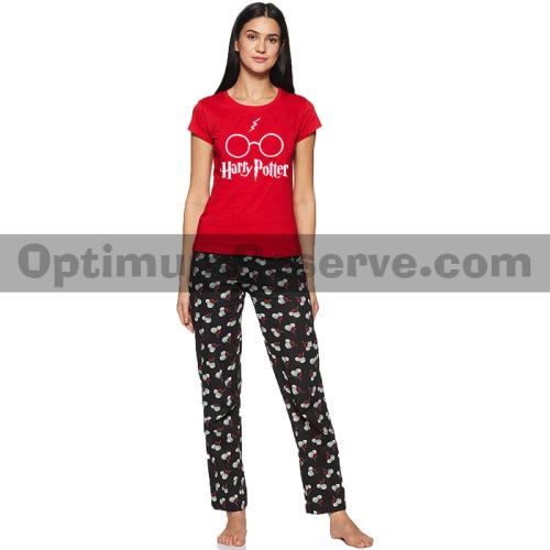 Printed T-shirt & Pajama D32 For Women's
