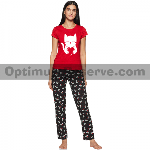 Printed T-shirt & Pajama D33 For Women's
