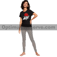 Printed T-shirt & Pajama D34 For Women's