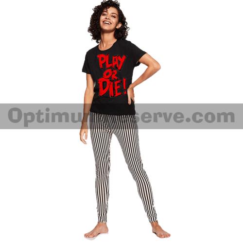 Printed T-shirt & Pajama D35 For Women's