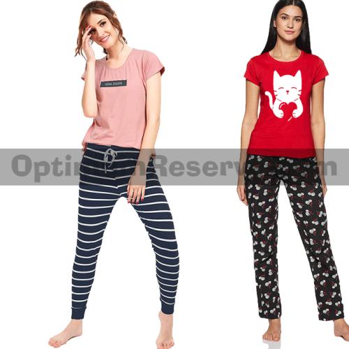 Bundle Of 2 Printed T-shirt & Pajama D4 For Women's