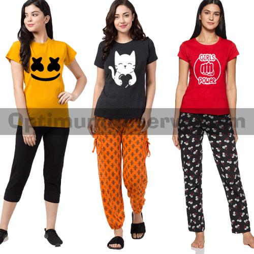 Bundle Of 3 Printed T-shirt & Pajama D13 For Women's