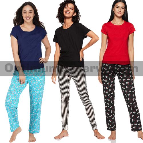 Bundle Of 3 Printed T-shirt & Pajama D14 For Women's