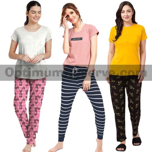Bundle Of 3 Printed T-shirt & Pajama D16 For Women's