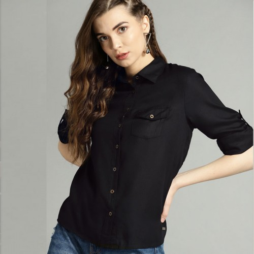 Black Stylish Women's Casual Shirt