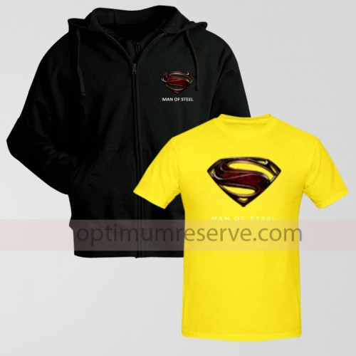 Black Man Of Steel Zipper Hoodie With Man Of Steel T-Shirt Replica For Men's