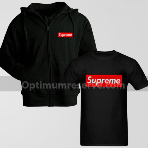 Black Supreme Zipper Hoodie With Supreme Replica T-Shirt For Men's