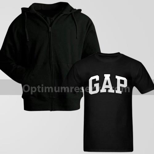 Black Zipper Hoodie With Gap Replica T-Shirt For Men's