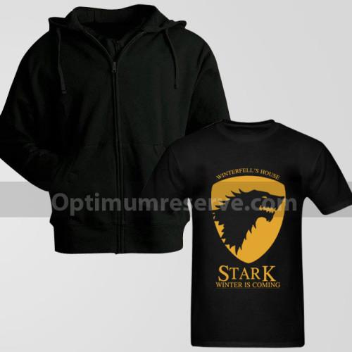 Black Zipper Hoodie With Winter Stark T-Shirt For Men's