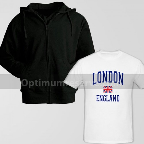 Black Zipper Hoodie With London England Printed T-Shirt For Men's