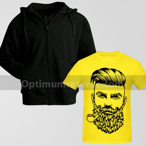 Black Zipper Hoodie With Beard Man Printed T-Shirt For Men's