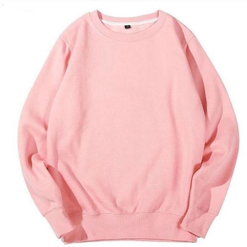 Plain Pink Fleece Sweatshirt For Women's