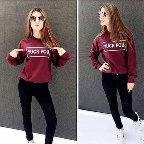 Yuck You Maroon Pullover Fleece Sweatshirt