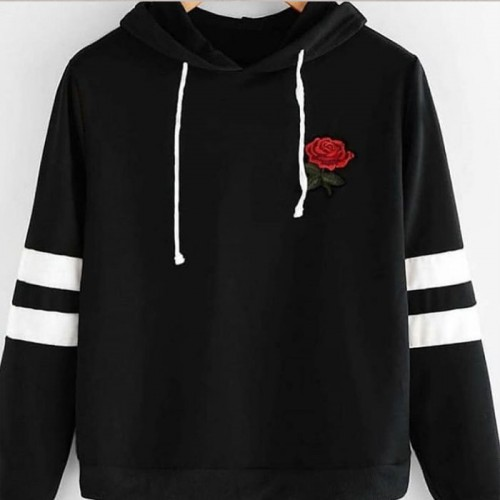 Rose Design Black Fleece Hoodie For Ladies