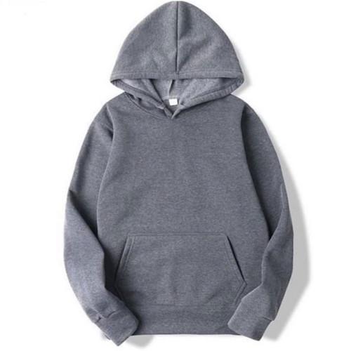Plain Charcoal Fleece Hoodie For Men's