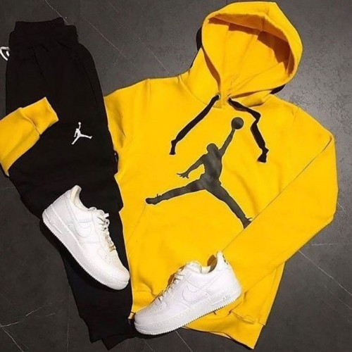 Jordan Yellow Fleece Winter Tracksuit