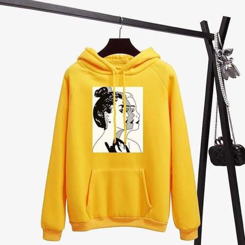 Women Design Yellow Fleece Hoodie