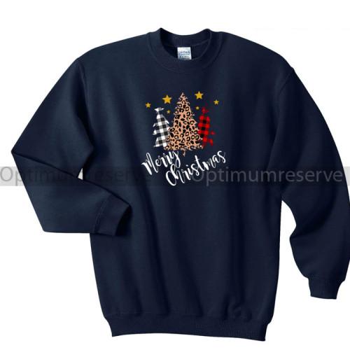 Merry Christmas Navy Blue Sweatshirt For Women's