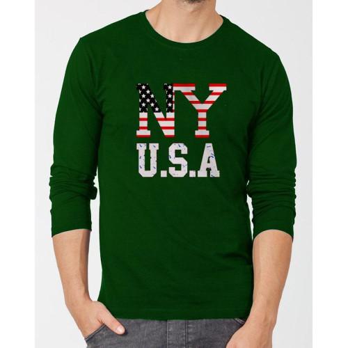 NY Dark Green Full Sleeves T-Shirt