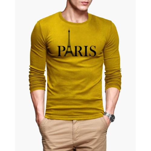 Paris Logo Yellow Full Sleeves T-Shirt
