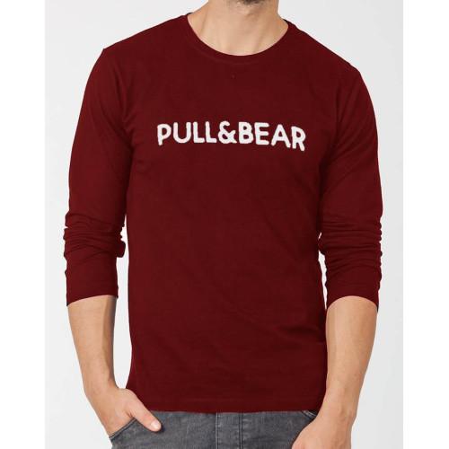 Pull & Bear Maroon Full Sleeves T-Shirt