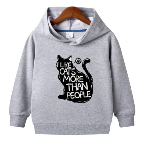 Like Cats Grey Hoodie For Kids