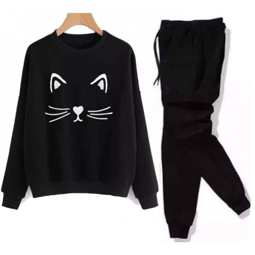 Meow Black Winter Tracksuit For Ladies