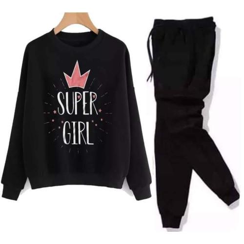 Super Girls Black Winter Tracksuit For Ladies