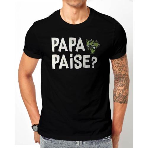Papa Paise Black Half Sleeves T-Shirt