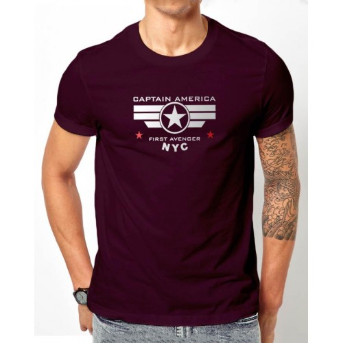 Captain America Purple Half Sleeves T-Shirt
