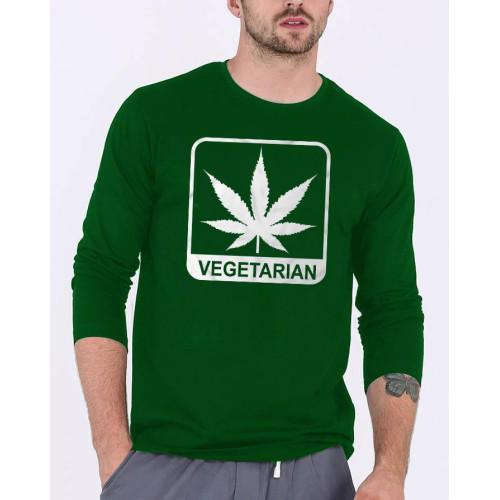 Vegetarian Green Full Sleeves Printed T-Shirt