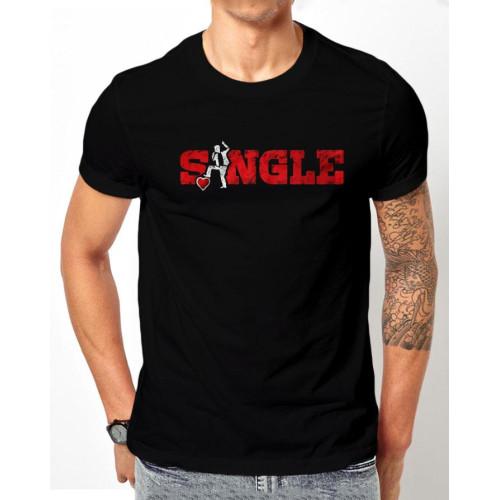 Single Logo Black Half Sleeves T-Shirt For Boys