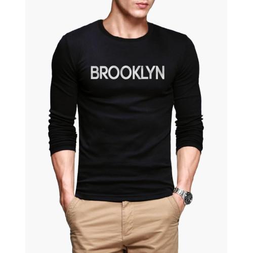 Brooklyn Black Full Sleeves Printed T-Shirt