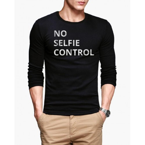 No Selfie Control Black Full Sleeves T-Shirt