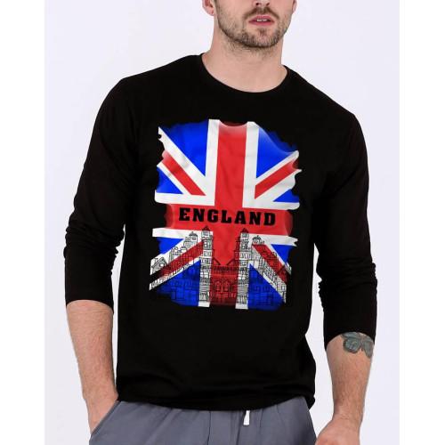 England Black Full Sleeves T-Shirt