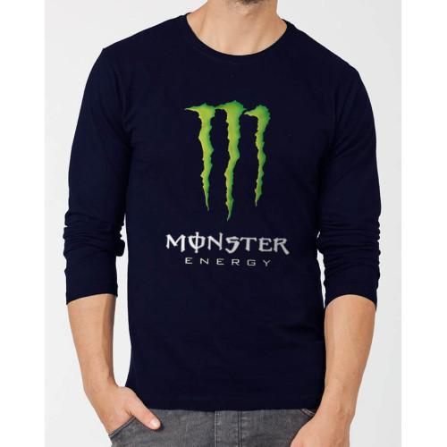 Monster Navy Blue Full Sleeve Printed T-Shirt