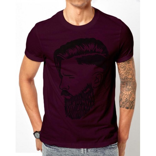 Stylish Design Purple Half Sleeves T-Shirt