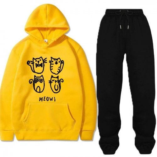 Meow Yellow Winter Tracksuit For Ladies