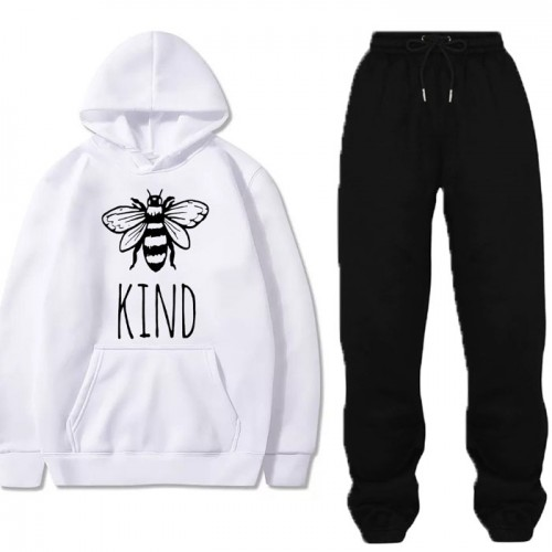 Be Kind White Winter Tracksuit For Women