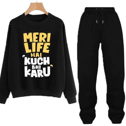 Meri Life Black Winter Tracksuit For girl