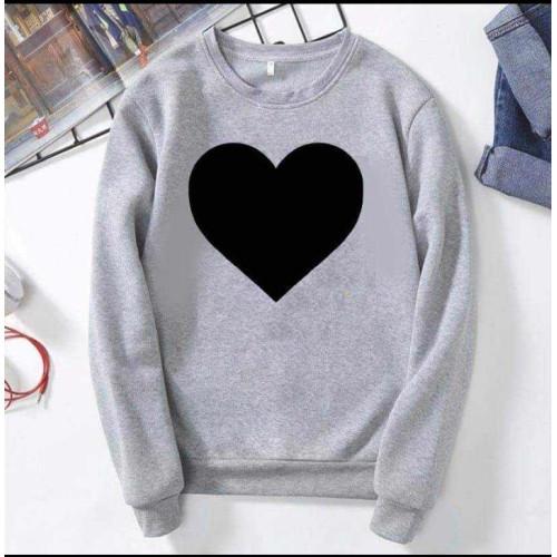 Heart Design Grey Fleece Sweatshirt For Girls