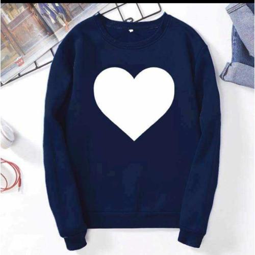 Heart Design Navy Blue Sweatshirt For Girls