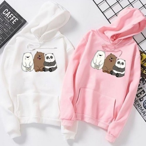 Bundle of 2 Pink & White Teddy Bears Hoodie