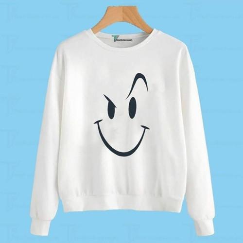 Scary Smile White Fleece Sweatshirt
