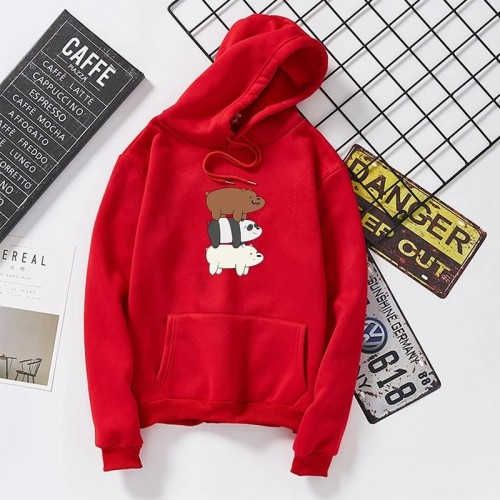 Red Bear Pullover Hoodie For Women