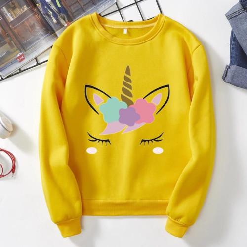 Unicorn Yellow Pullover Sweatshirt For Ladies