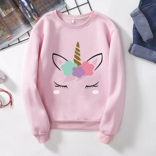 Unicorn Pink Pullover Sweatshirt For Ladies