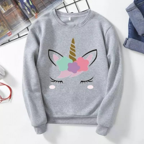 Unicorn Grey Pullover Sweatshirt For Ladies