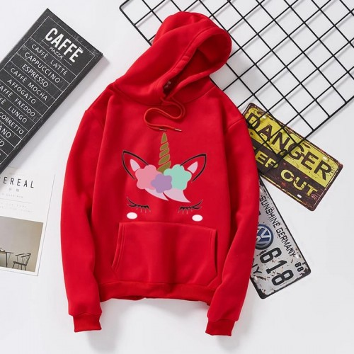 Unicorn Red Pullover hoodie For Ladies